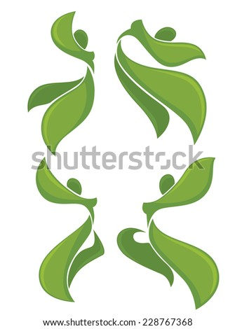 green dancing people, vector ecological collection - stock vector