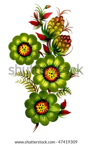 green decorative flower on the white background - stock vector