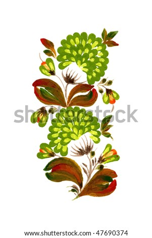 green decorative flowers on the white background - stock vector