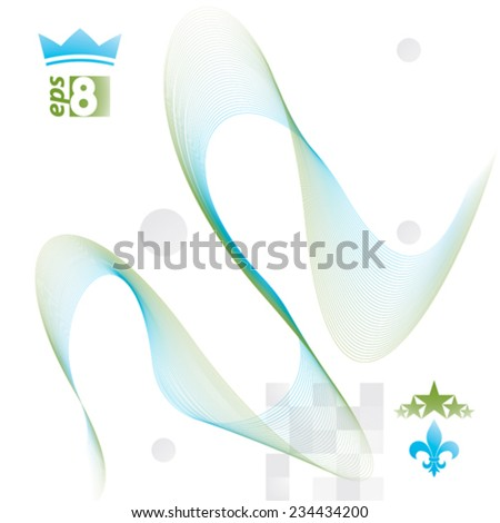 Green delicate dimensional flowing stripy lines, dreamy vector abstract background with web design elements, motif light template. - stock vector