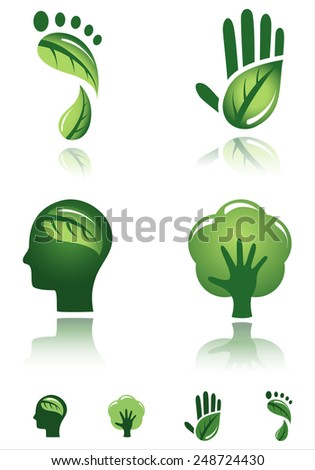 Green Design Icons - Vector designs of environmental concepts.  Each icon is grouped individually for easy editing.  Colors are global for easy editing. - stock vector