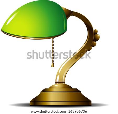 Green Desk Lamp. Vector Illustration.