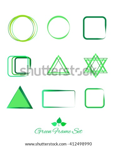 Green different frames set. Eco icons set. Modern style. Eco concept. Vector Illustration. Concept design. For Art, Print, Web design. World environment day icons. Ecology - stock vector