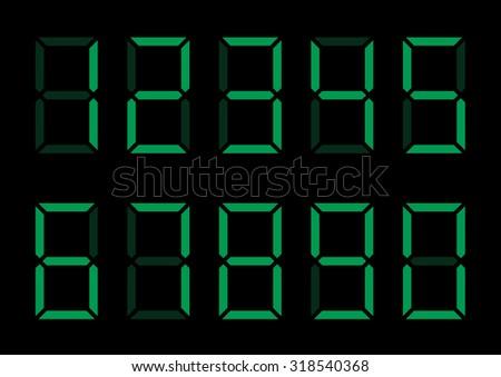 Green digital numbers. Calculator display, Vector illustration - stock vector