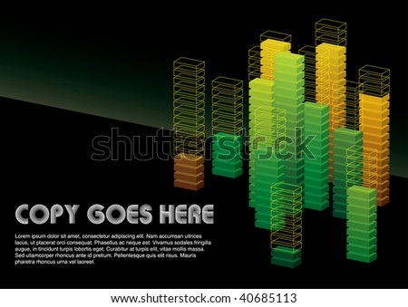 green dimension box background design - stock vector