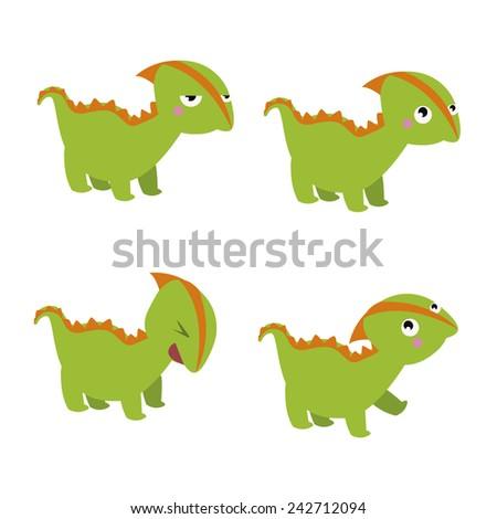 Green dinosaur characters - stock vector