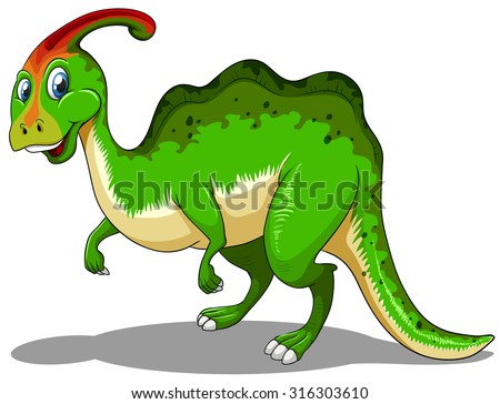 Green dinosaur standing on white illustration - stock vector