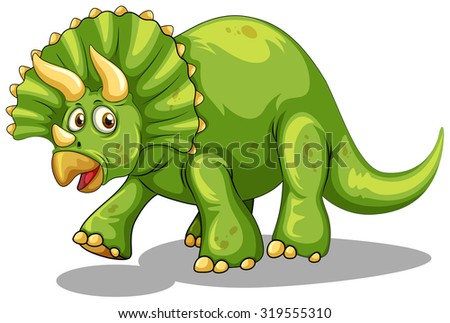 Green dinosaur with horns illustration - stock vector