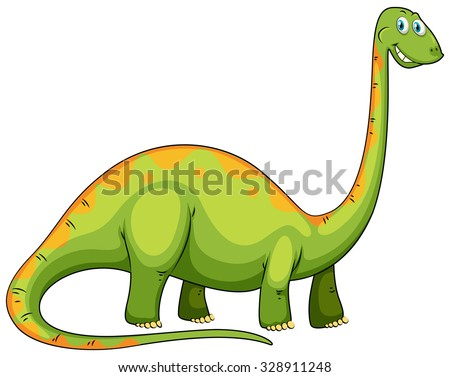 Green dinosaur with long neck illustration - stock vector