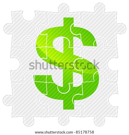 Green dollar sign on grey puzzle, vector illustration - stock vector