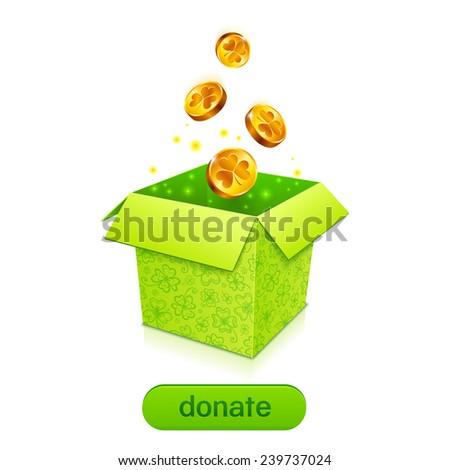 Green donation box with golden fallen coins and button - stock vector
