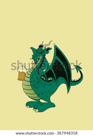 Green dragon with beer.Isolated vector illustration - stock vector