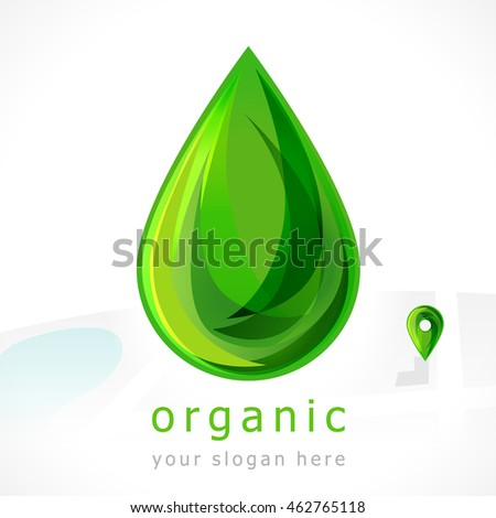 Green drop and navigator arrow. Sign of organic and healthcare products.