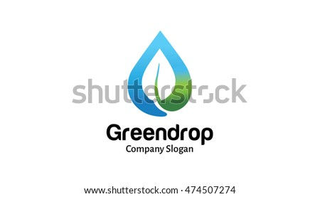 Green Drop Logo Design Illustration