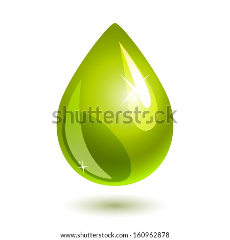 green drop of oil on white. eps10