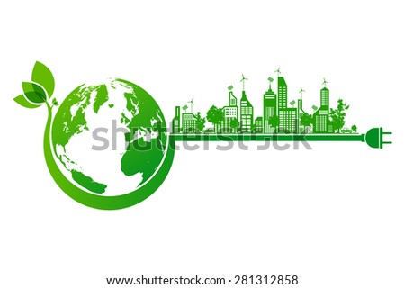 Green earth and city eco concept - stock vector