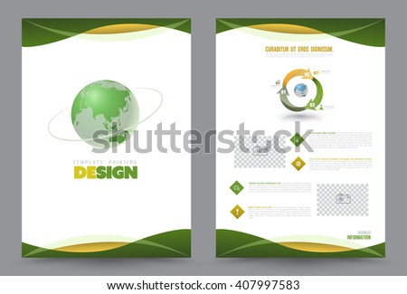 Green Earth annual report Leaflet Brochure Flyer template A4 size design, book cover layout design, Abstract presentation templates, Business report template.