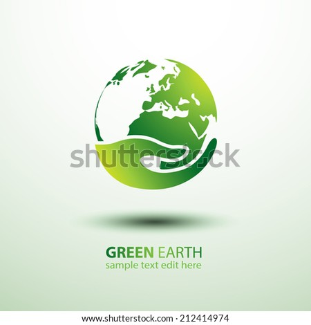 Green earth concept with hand,vector illustration - stock vector