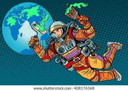 green Earth day ecology astronaut