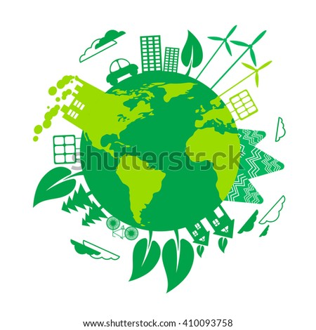 Green Earth Eco Globe Wind Turbine Solar Energy Panel Flat Vector Illustration - stock vector