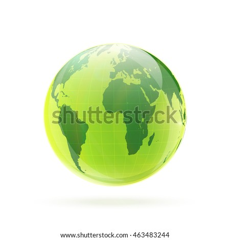 Green Earth globe isolated on white background vector