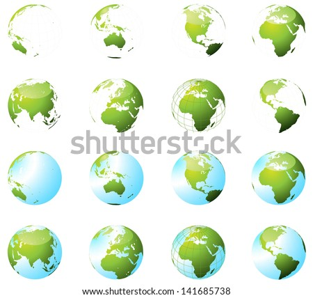 Green Earth Globe Set - stock vector