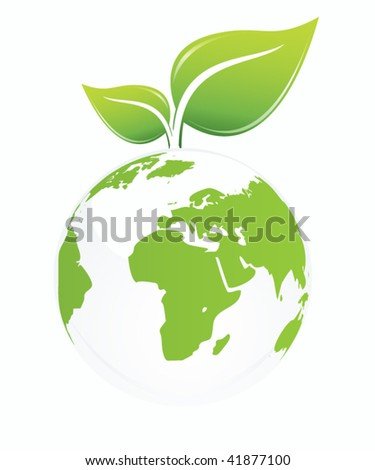 green earth globe with leaves - stock vector