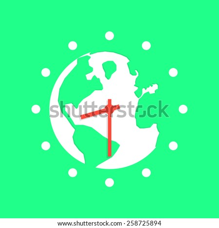 green earth hour with white planet. concept of global warming, saving electricity, illumination, wwf power conservation, people peace, protect. flat style trendy modern design vector illustration - stock vector