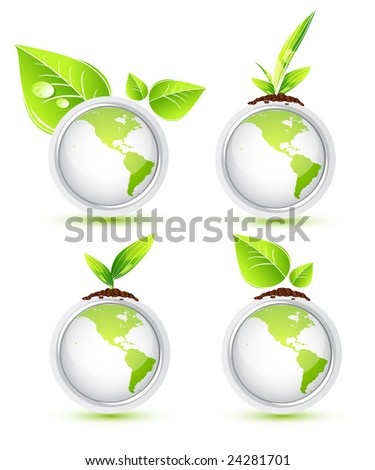 Green Earth. Icons - stock vector