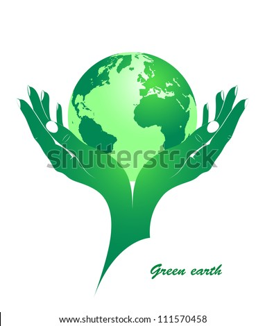 Green earth in female hands. The concept - environmental protection from pollution. Vector silhouette. - stock vector