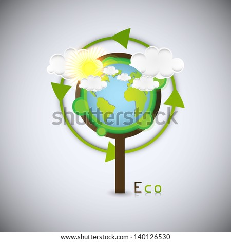 Green earth in tree, eco background, vector, - stock vector