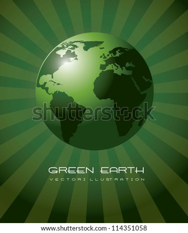 green earth realistic, ecology background. vector illustration - stock vector