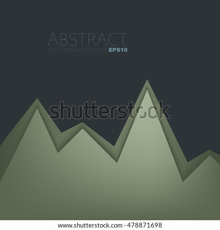 Green earth tone background serrated paper layer with line on black dark space for text and message design