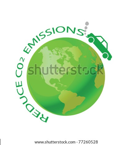 Green earth with car reduce CO2 message - stock vector