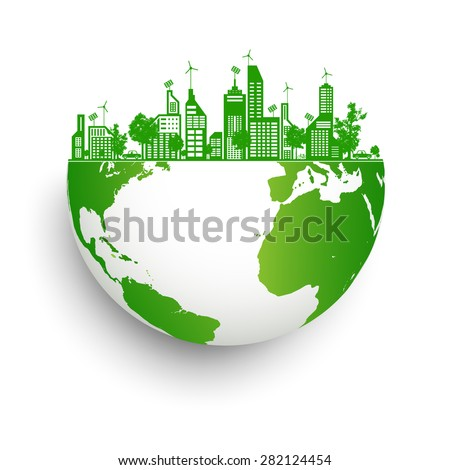 Green earth with city energy - stock vector