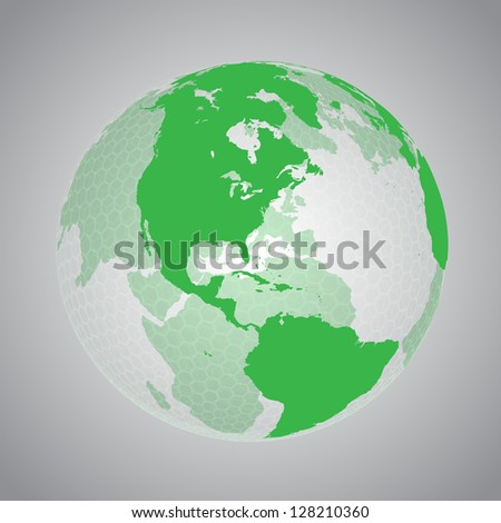 Green earth with hexagon net