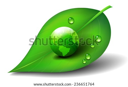 Green Earth World on Leaf  Icon Symbol - stock vector