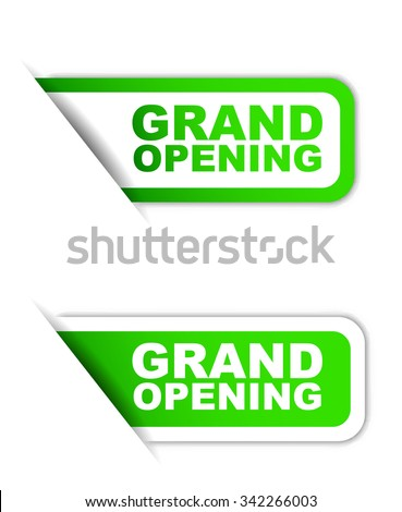 Green easy vector illustration isolated horizontal banner grand opening two versions. This element is well adapted to web design.