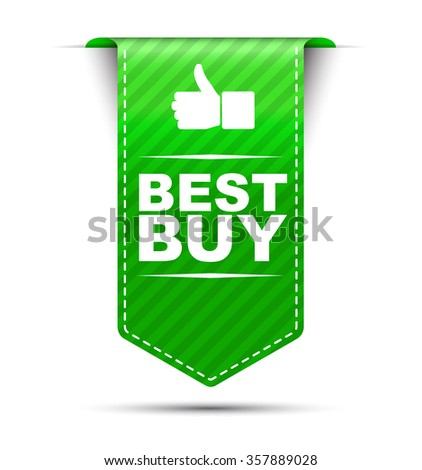 Green easy vector illustration isolated ribbon banner best buy. This element is well adapted to web design. - stock vector