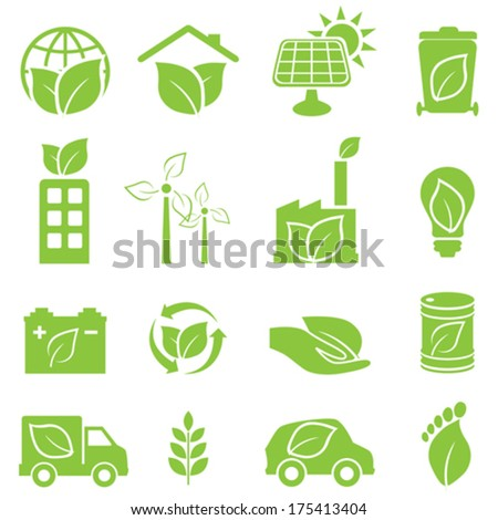 Green eco and environment icon set - stock vector