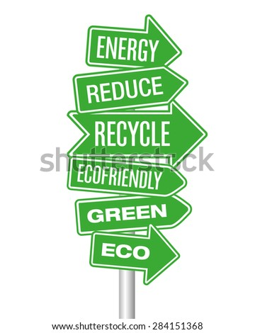 Green eco arrows - stock vector