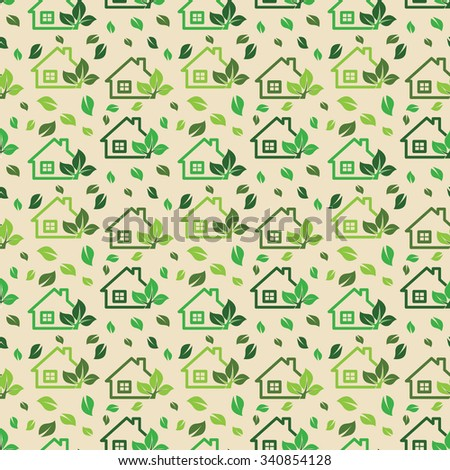 Green eco background made of small ecology green houses and trees - vector seamless pattern. - stock vector