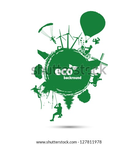 Green eco background with environment symbols on earth - stock vector