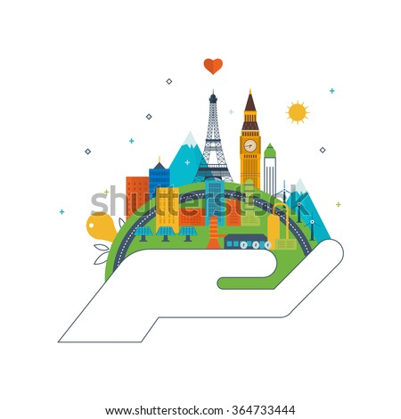 Green eco city and eco-friendly city concept. Modern energy safety. Ecology concept, city eco. Flat green energy, ecology, eco, clean planet, urban landscape and industrial factory buildings concept - stock vector