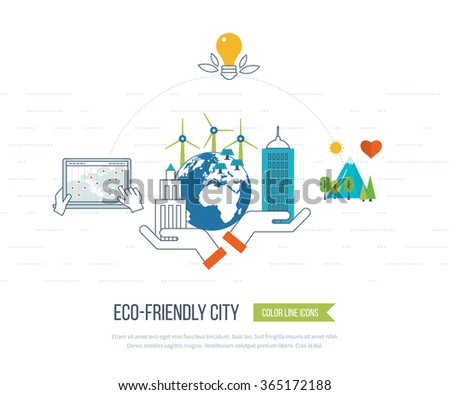 Green eco city and eco-friendly city concept. New energy type. Modern energy safety. Ecology concept, city eco - stock vector