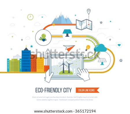 Green eco city and eco-friendly city concept. New energy type. Modern energy safety. Ecology concept, city eco. Color line icons - stock vector