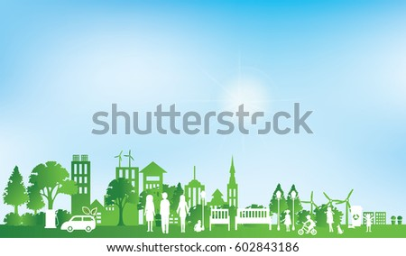 Green Eco City Life Paper Art Stock Vector Shutterstock