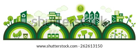 Green Eco city living concept. - stock vector