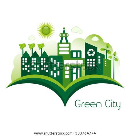 Green Eco city living concept. - stock vector
