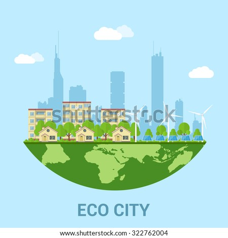 green eco city with private houses, panel houses, wind turbines and solar panels, flat style concept for renewable energy and eco technologies - stock vector